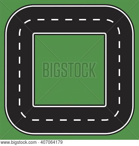The Road Is In The Form Of A Square. The Track Is Square. Road Style Square. Vector Illustration. St