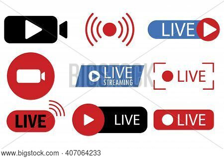 Live Streaming, Broadcasting, Online Stream. Live Video Streaming. Online Stream Sign. Stock Image.
