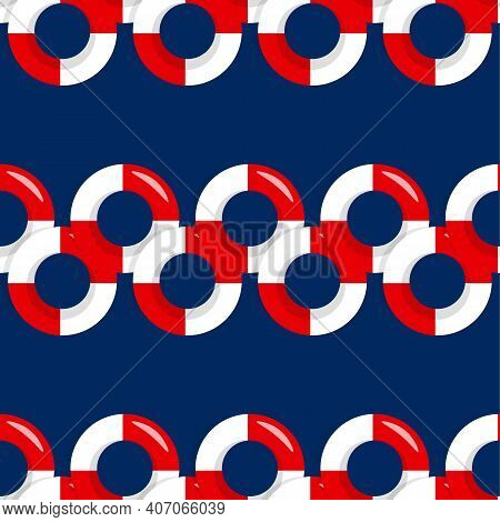 Seamless Pattern Wiht Red And White Lifebuoy On Blue Background, Summer Symbol. Life Preserver. Life