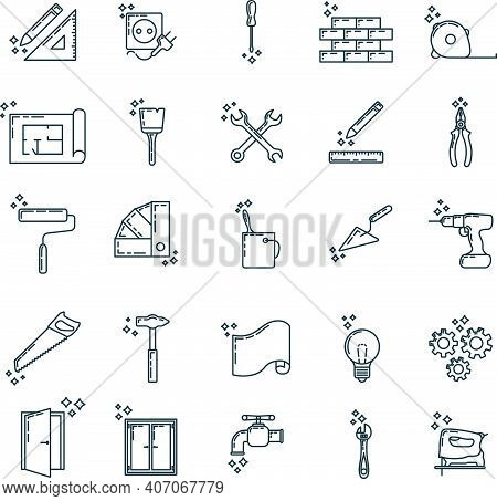 Big Set Of Renovation House 25 Icon, Concept Repair Build Tool Stuff, Instrument Toolkit Outline Art