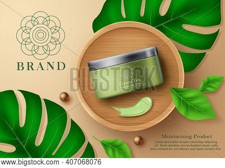 Moisturizing Green Tea Cosmetic Product Vector Banner Template. Cosmetic Moisturizer Products Mock U