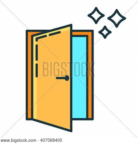 Entry Doorway Repair Home Icon, House Renovation Concept Line Flat Vector Illustration, Isolated On
