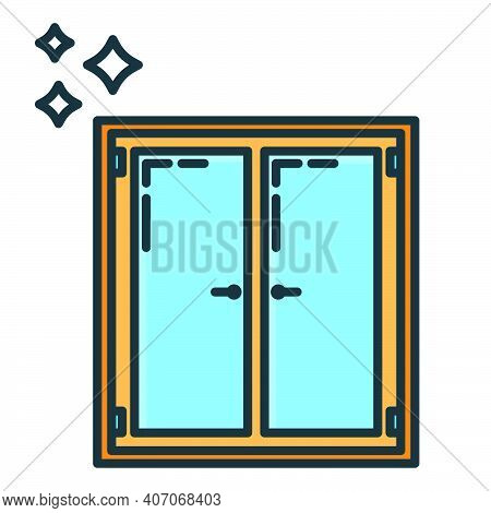 Window Aperture Home Icon, House Renovation Concept Line Flat Vector Illustration, Isolated On White