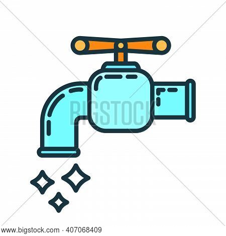 Water Home Tap Icon, Faucet House Renovation Concept Line Flat Vector Illustration, Isolated On Whit