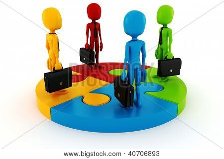 3d man business man on puzzle wheel chart