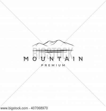 Mountain Logo Design Illustration Vector TemplateWith Line Art Style