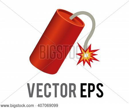 The Isolated Vector Red Tube Firecracker Icon With Burning Fuse And Firework Sparkler Fire, As Lit O