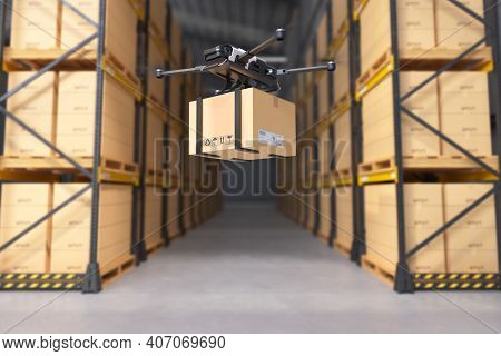 Delivery Drone In Warehouse, Business Air Transportation. Unmanned Aircraft Robot Concept. Fast Air