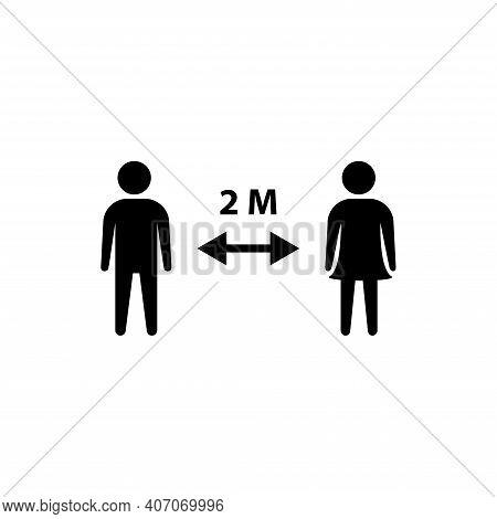 Social Distancing Vector Icon. 2 Meters Distance Between Sign. Coronavirus Pandemic Symbol.