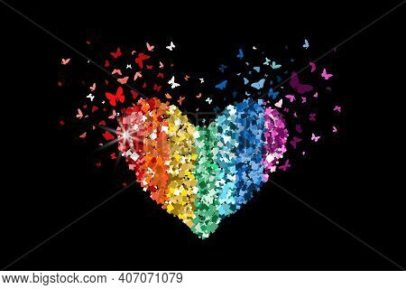 Heart Glitter Rainbow Colors Icon With Glitter Glow Confetti Butterflies On Black Background. For Va