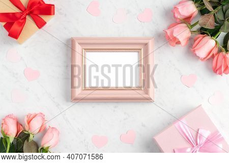 Giftbox And Pink Rose For Valentine's Day Holiday Greeting Design Concept.