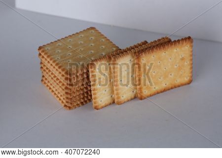 Light Biscuits On Soft Lighting / Biscuits On White Background