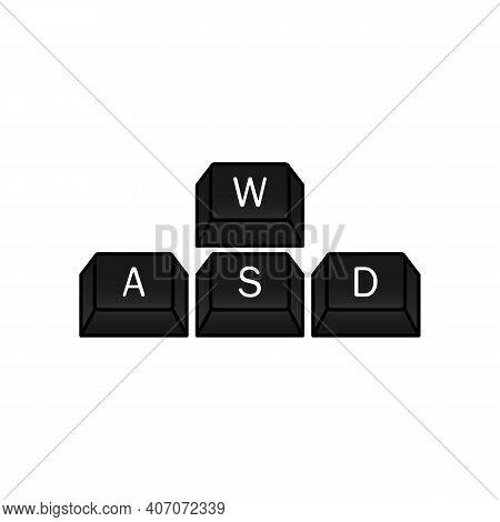 Computer Gamer Keyboard, Wasd Keys. Wasd Keys, Game Control Keyboard Buttons. Gaming And Cybersport
