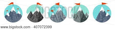 Set Of Snowy Mountains In Flat Style. Winter Rocky Mountain Landscape. Outdoor Travel And Tourism, H