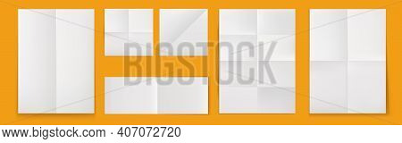 Folded Blank Posters, White Paper Sheets With Crossing Creases Top View. Vector Realistic Template O