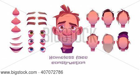 Homeless Man Face Construction, Avatar Creation With Different Head Parts Isolated On White Backgrou