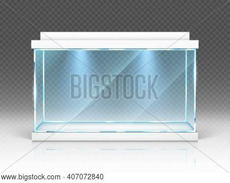 Aquarium Glass Box, Terrarium With Backlight Isolated On Transparent Background. Empty Illuminated T