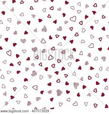 Color Pattern With Hearts. Chaotic Pattern Hearts. Seamless Vector