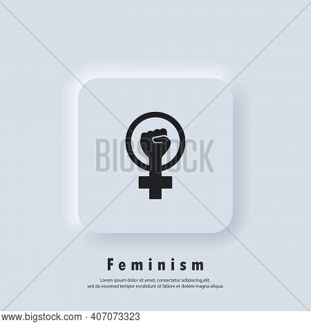 Feminist Logo. Girl Power Icon. Woman S Hand With Fist. Symbol Of Feminist Movement Icon Outline. Ve
