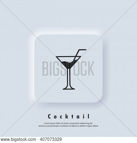 Cocktail Icon. Alcoholic Cocktails. Cocktail Logo. Drink And Champagne Icon. Vector. Ui Icon. Neumor