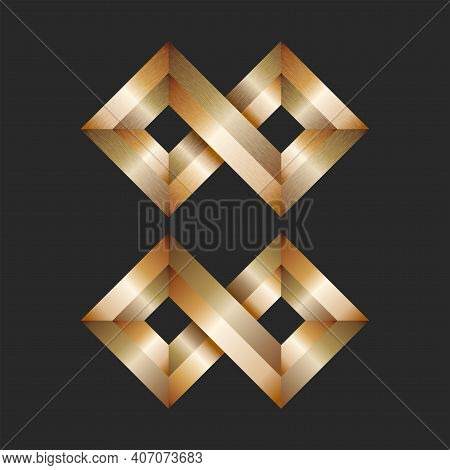 Infinity Brass Logo 3d Shape, Sharp-angled Shiny Metallic Shabby Two Diamond Infinite Sign.
