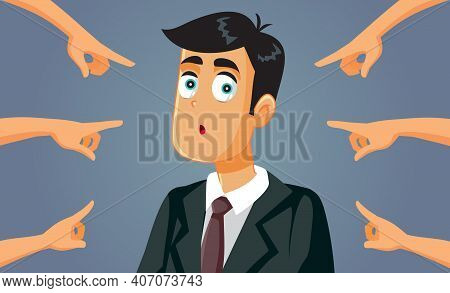 Hands Pointing To A Confused Business Man