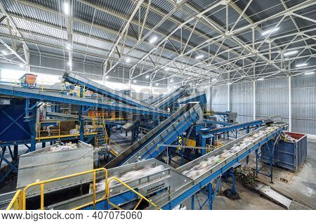 A Modern Plant For Sorting And Recycling Household Waste And Waste. Large Industrial Complex Of Conv