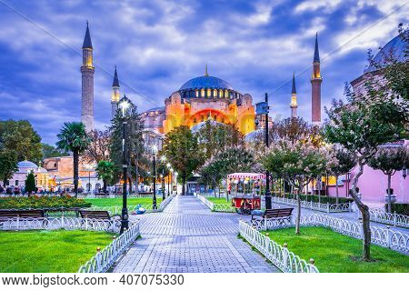 Istanbul, Turkey - Hagia Sophia Dome And Minarets In The Old Sultanahmet, Medieval Constantinople