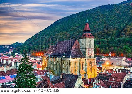 Brasov, Romania. Black Church Is Famous Saxon Cathedral In Transylvania, Eastern Europe. Tampa Mount