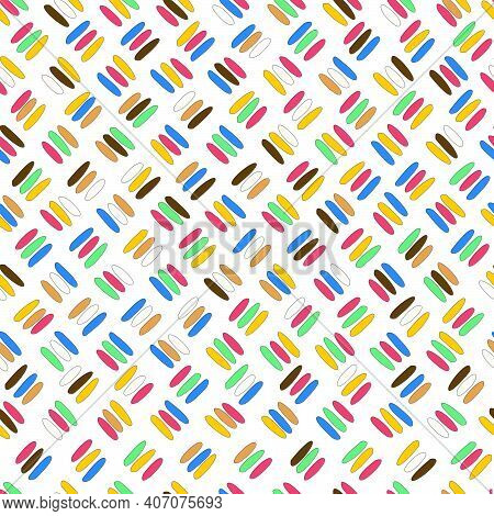 Seamless Pattern With Oblique Colored Sticks On White Background