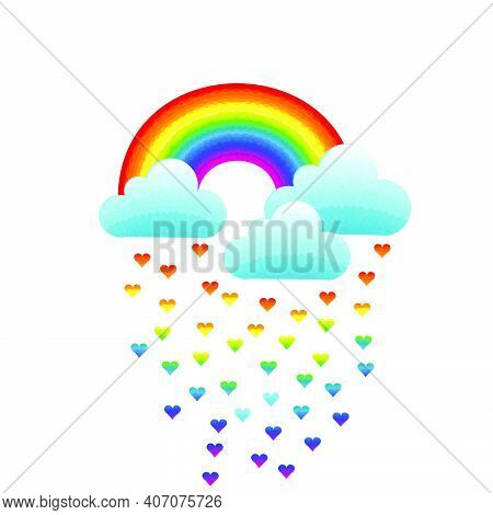 Rainbow, Clouds And Heart-shaped Raindrops On White Background