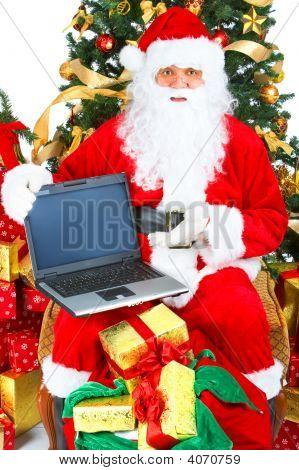 Smiling Santa, Laptop