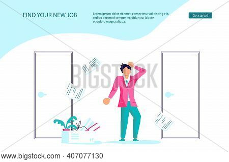 Landing Webpage Template Of Dismissal Employees. Unemployment, Jobless And Employee Job Reduction Me