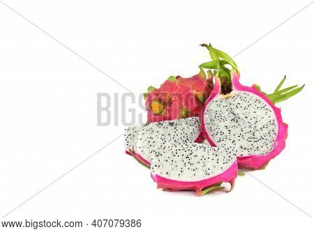Group Of Ripe Sweet Fruit - White Dragon Fruit On White And Space
