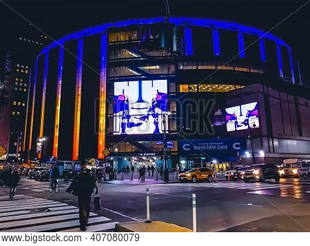 A Night Shot Of The Most Famous Arena, Madison Square Garden, Exterior Illuminated, Where Sporting E