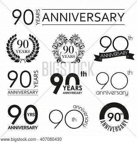 90 Years Anniversary Icon Set. 90th Anniversary Celebration Logo. Design Elements For Birthday, Invi