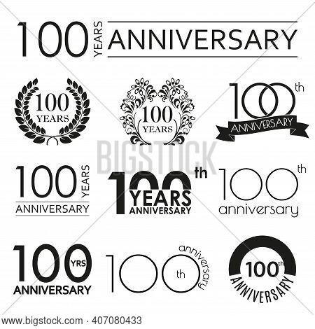 100 Years Anniversary Icon Set. 100th Anniversary Celebration Logo. Design Elements For Birthday, In