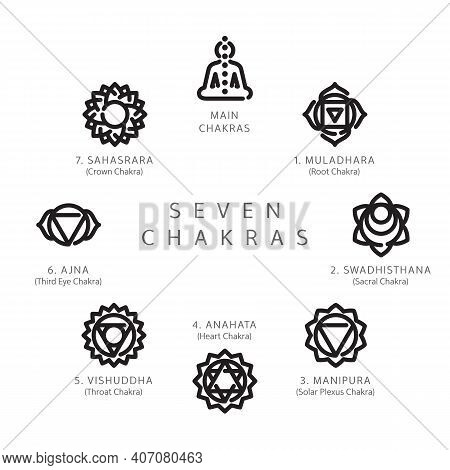 Set Of Seven Chakras Symbols Line Icons Suitable For Web, Infographics And Apps. Muladhara, Swadhist