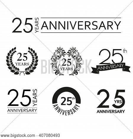 25 Years Anniversary Icon Set. 25th Anniversary Celebration Logo. Design Elements For Birthday, Invi