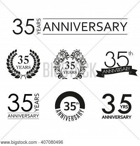 35 Years Anniversary Icon Set. 35th Anniversary Celebration Logo. Design Elements For Birthday, Invi