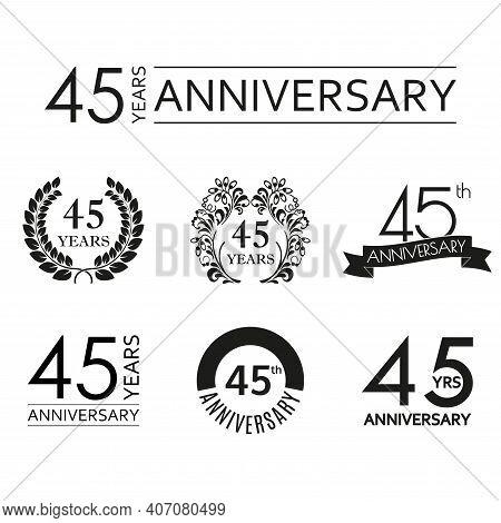 45 Years Anniversary Icon Set. 45th Anniversary Celebration Logo. Design Elements For Birthday, Invi