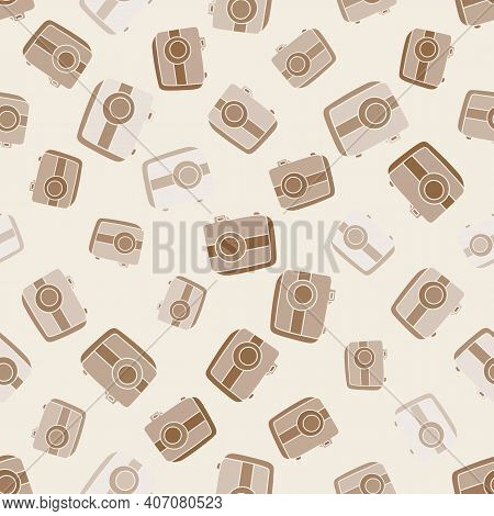 Seamless Pattern With Hand Drown Silhouette Camera On Color Background. Business Elements Icons In D