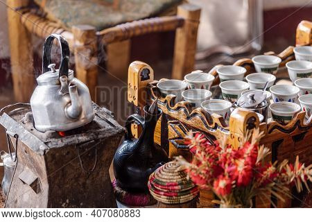 Place With Cups Of Ethiopian Coffee Served With Aromatic Essence Called Buna. Frankincense And Myrrh