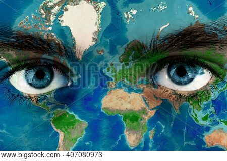 Earth Continents Painted On Face Skin, Concept Save The Planet. Image Of Earth Painted On Face Skin.