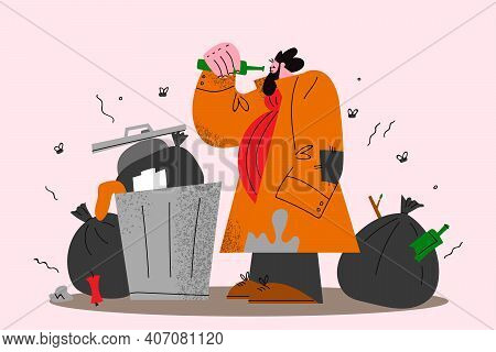 Homeless People, Unemployed Searching For Food Concept. Homeless Man In Torn Clothes Standing Near T