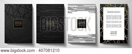 Modern Black Cover Design Set. Luxury Creative Line Pattern In Premium Colors: Black, Gold And White