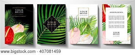 Tropical Cover Design Set With Asian Flower Bouquet And Green Palm Branch On White And Black. Exotic