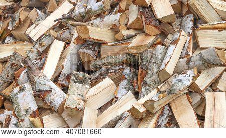Chopped Birch Firewood For Kindling In A Sauna.
