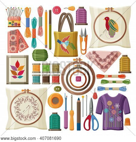 Set Of Embroidery Products And Tools Isolated On White Background. Embroidery Hoop, Threads And Need
