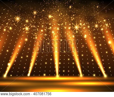 Stage Podium With Lighting, Stage Podium Scene With For Award Ceremony On Brown Background. Vector I